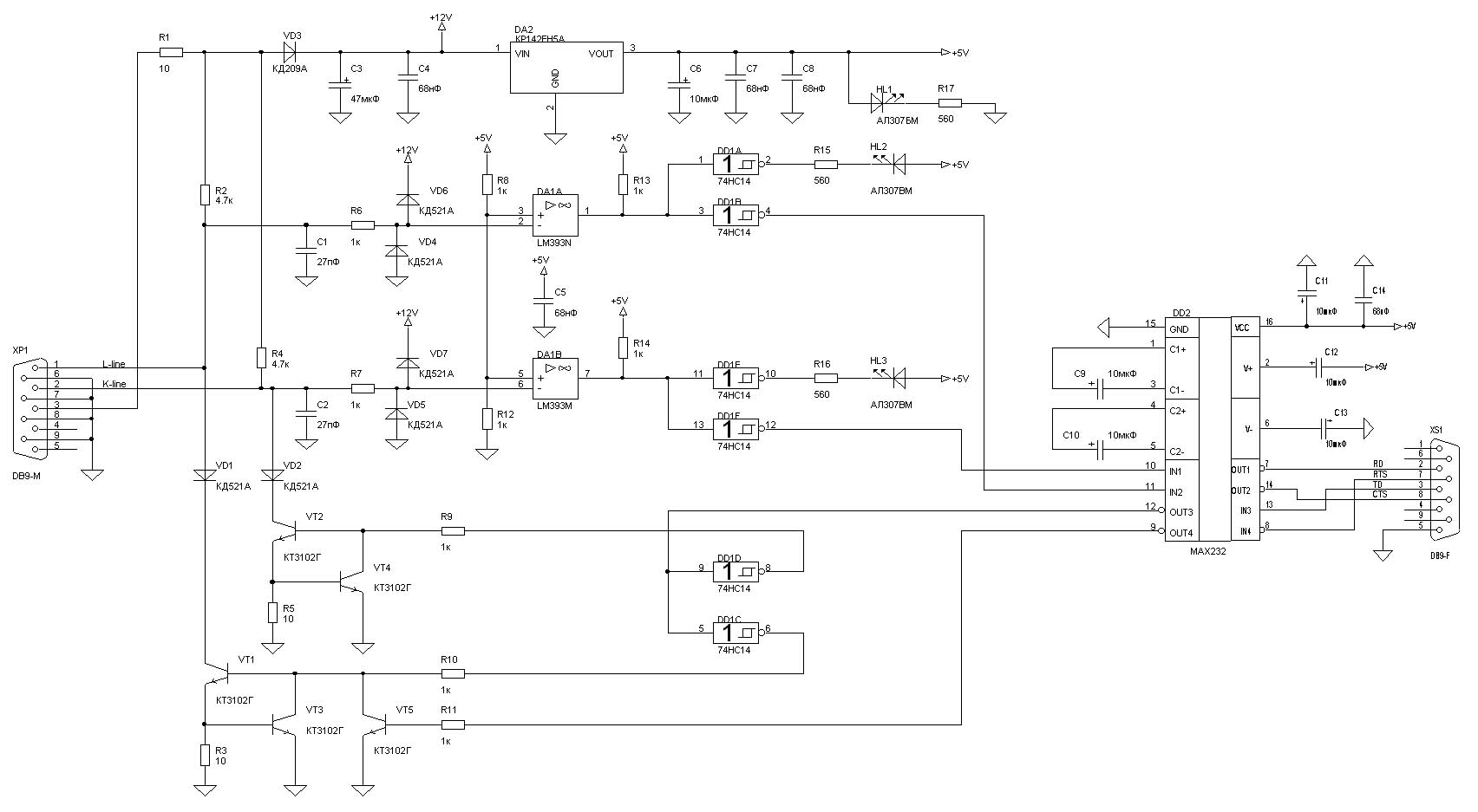 K line адаптер своими руками схемы